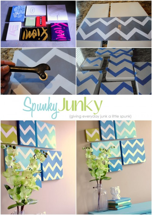 via Spunky Junky: {Tutorial Tuesday} Chevron Shoebox Wall Art