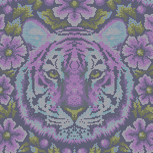 (Tula Pink) Eden, Crouching Tiger in Amethyst - FQ
