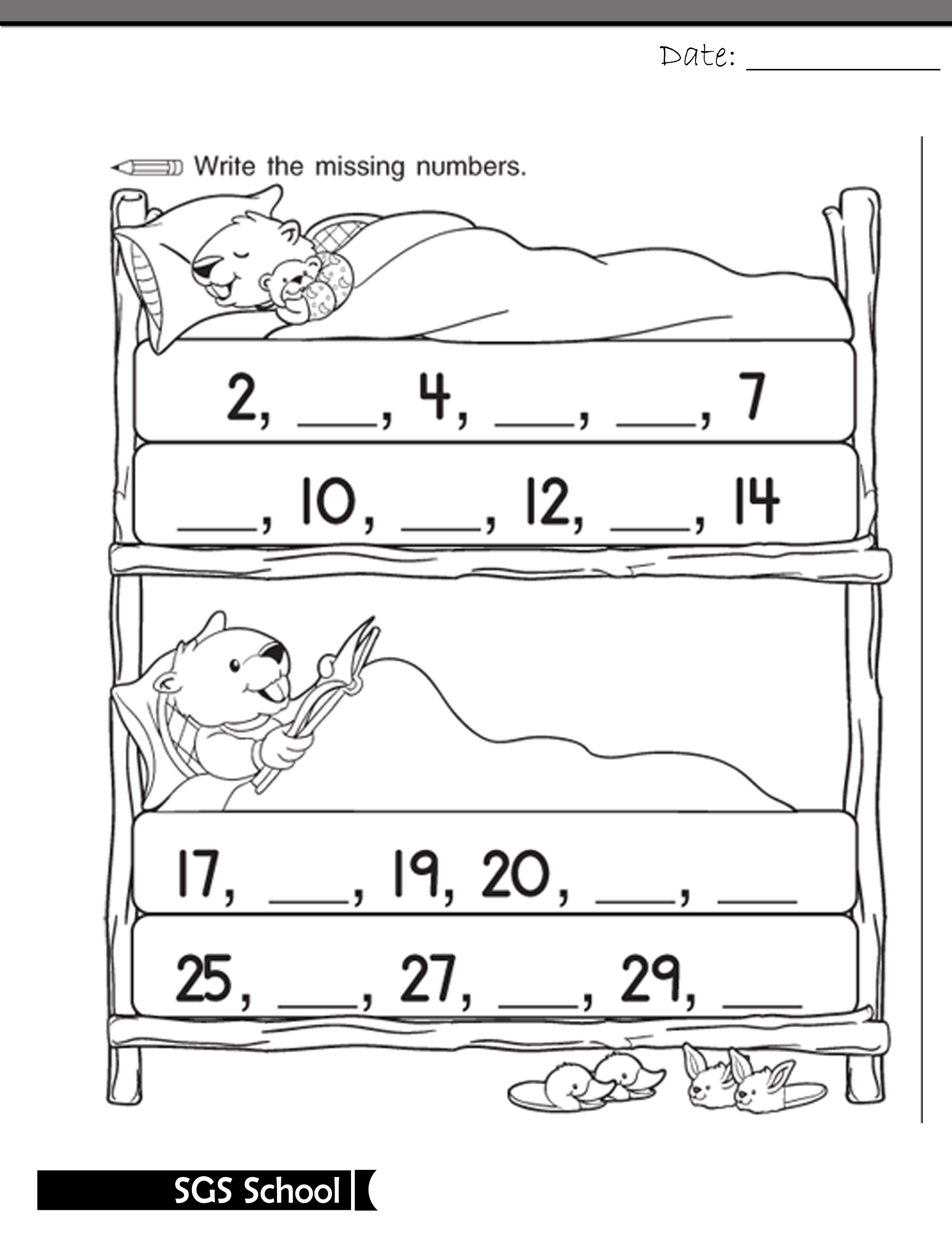 Printable Missing Number Worksheet For Class Kg 1 Shamim