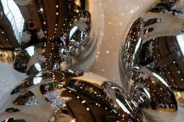 sparkling shiny silver baubles with reflection