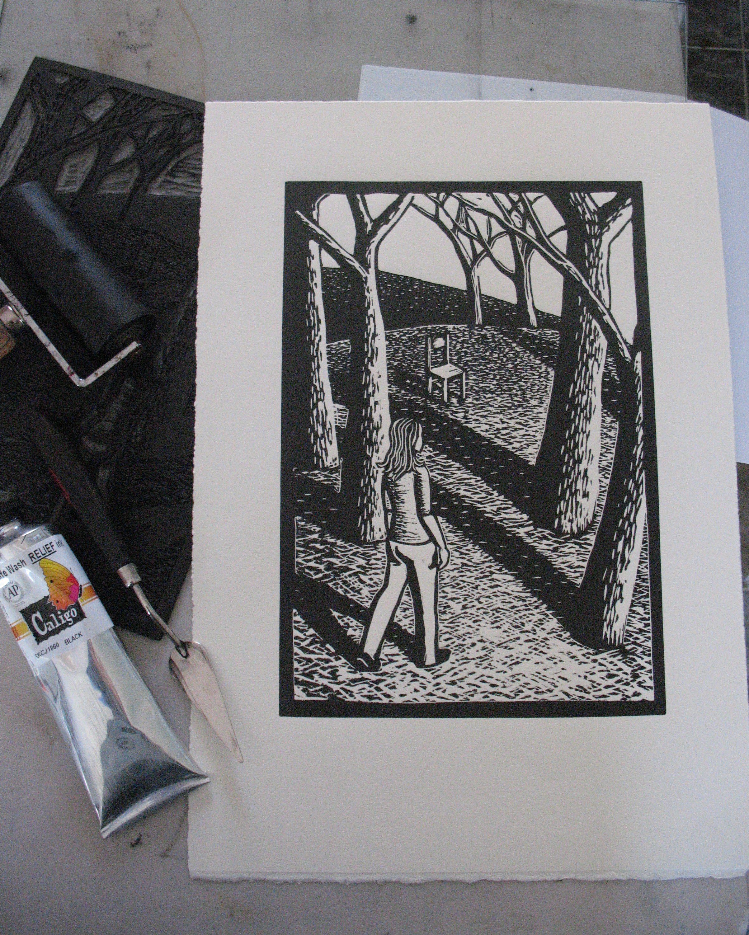 Linocut Unfold by Shana James with Carved Lino Block