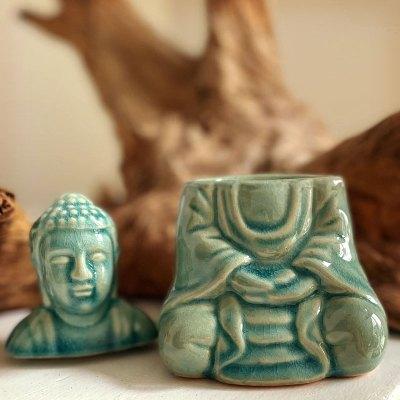 Aromalampe siddende Buddha
