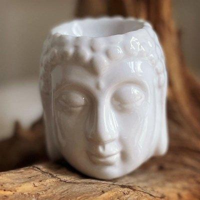 Duftlampe Buddha figur hvid