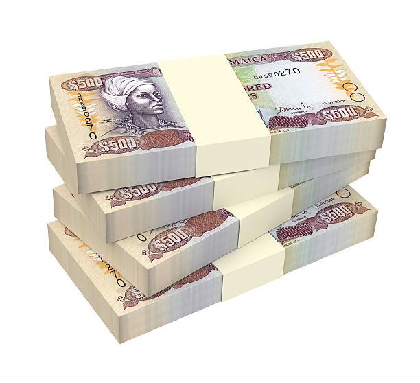 Jamaican money stacked
