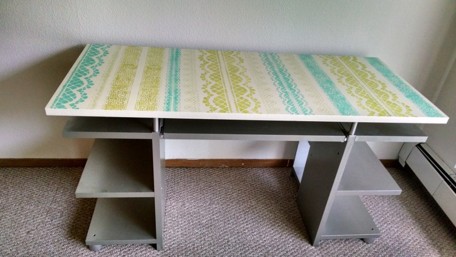 Optimizing My Writing Space  DIY Desk Makeover   shandi lynne wagner Painted and Stenciled Laminate Desk