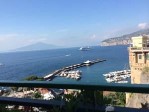 The Sorrento harbor faces Vesuvius to the north.