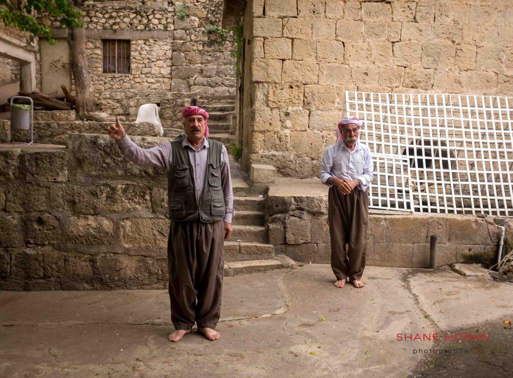 Yazidi men in Lalish, Iraqi Kurdistan.