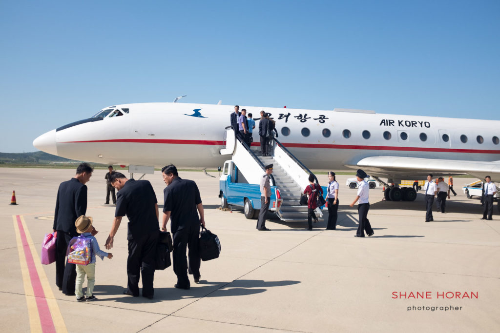 Air Koryo Tupolev TU- 154 on the tarmac at Pyongyang - Sunan international airport. Boarding for Orang in the North East.