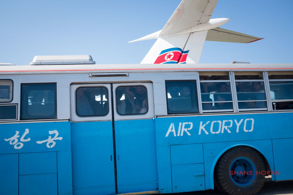 Airport bus at Orang airport, DPRK.
