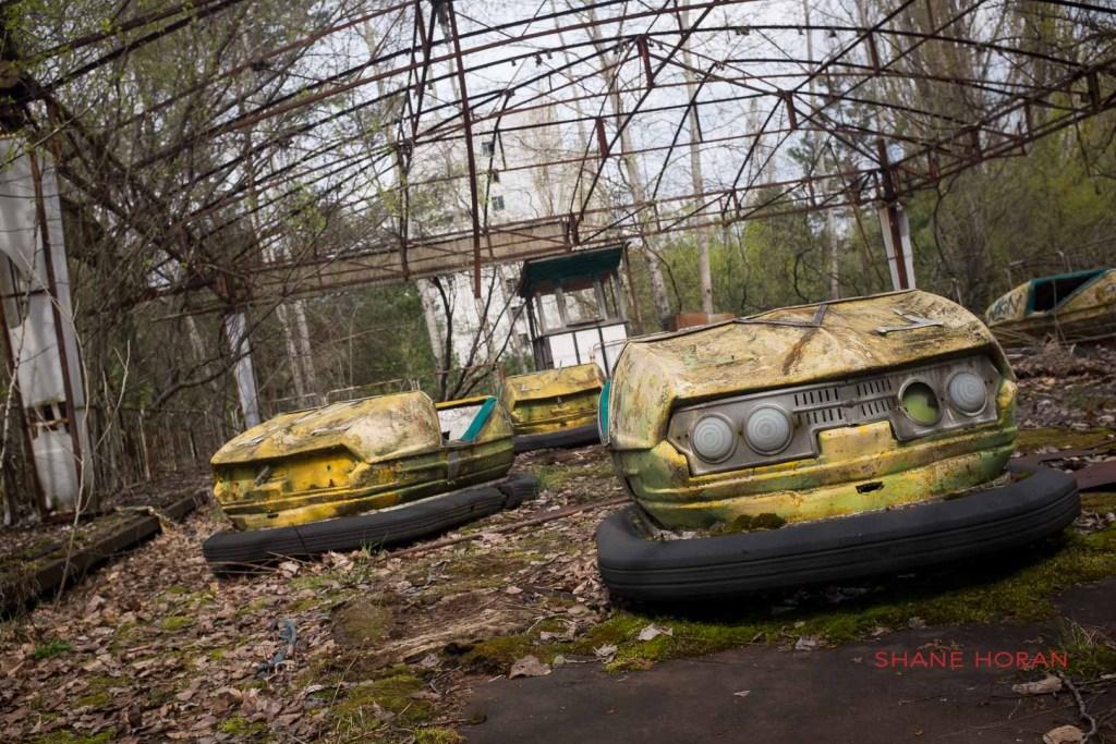 Abandoned dodgems, Pripyat, Chernobyl, Ukraine.