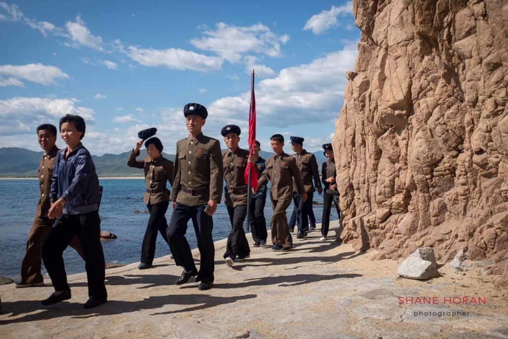 University students visiting a revolutionary site in North Hamgyong province, DPRK