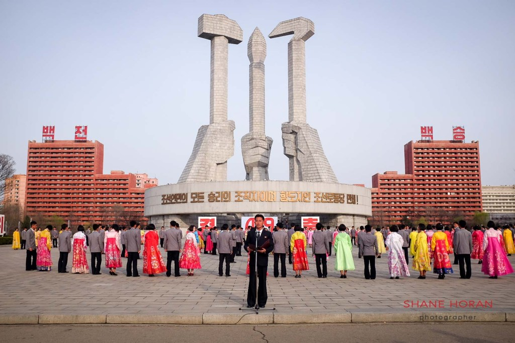 Students line up for a mass dance celebrating Kim Jong Ils election in 1993 as chairman of the National Defense Committee. Pyongyang, North Korea