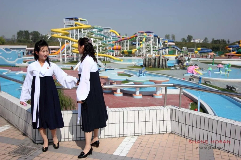 Overlooking a closed Munsu waterpark, Pyongyang, North Korea