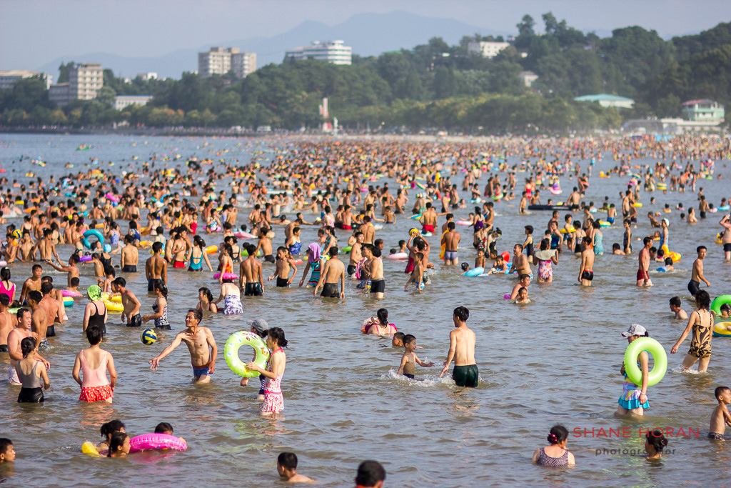 North Korea locals crowding the beach at Wonsan, North Korea