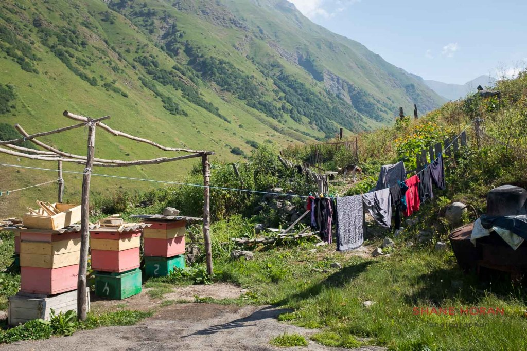 Clothes drying in the back yard of a South Ossetian home-stay