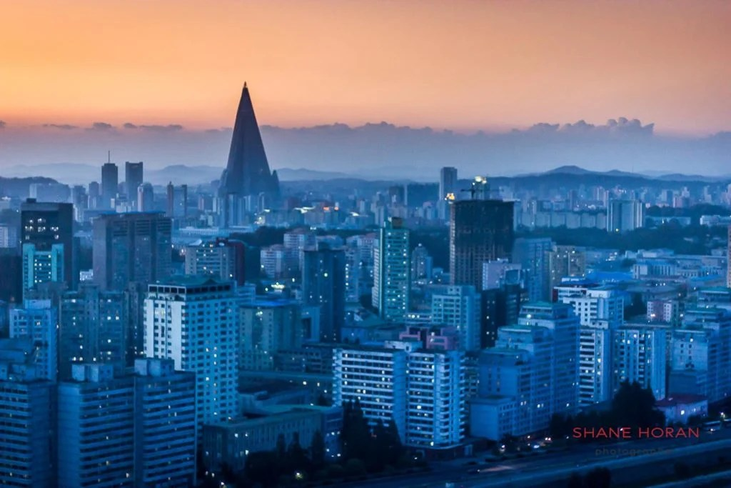 Pyongyang skyline at dusk, North Korea.