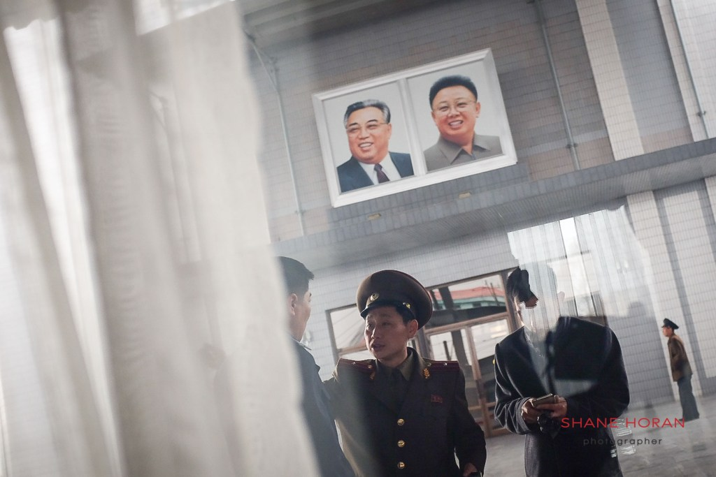 Leaders watching on at Sinuiju train station
