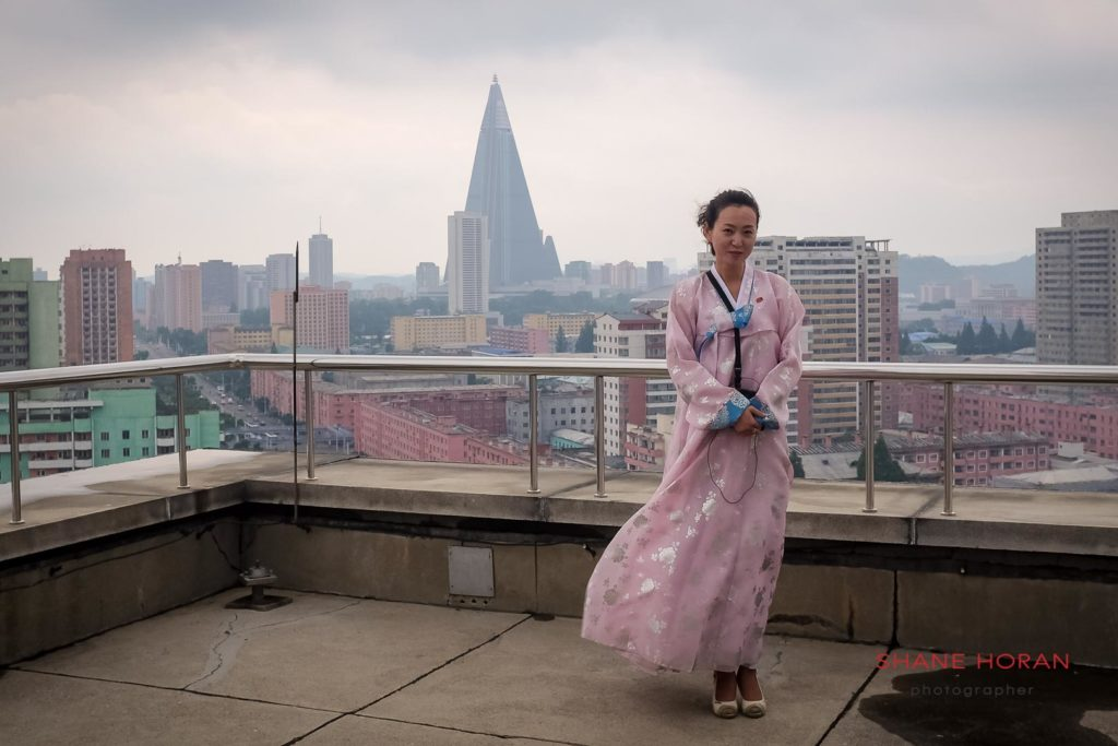 Guide atop the Arch of Triumph, Pyongyang, North Korea