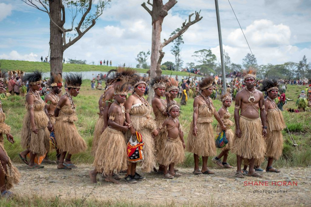 Tribal family arriving at Mt Hagen, Papua New Guinea
