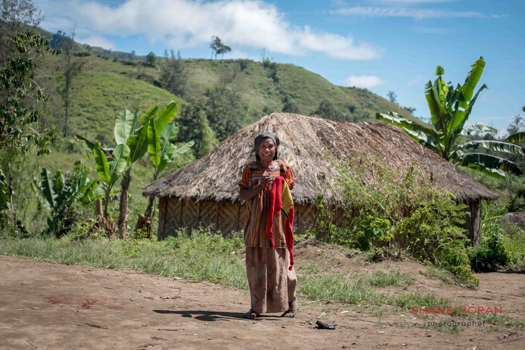 Woman greeting in Papua New Guinea