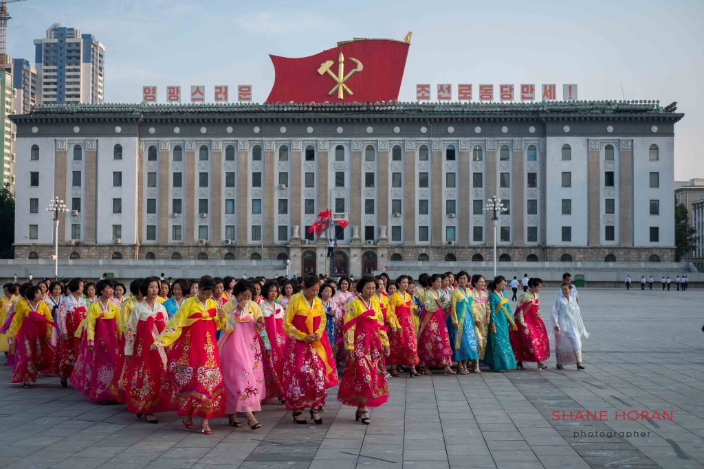 North Korean ladies in Kim Il Sung Square, Pyongyang, North Korea