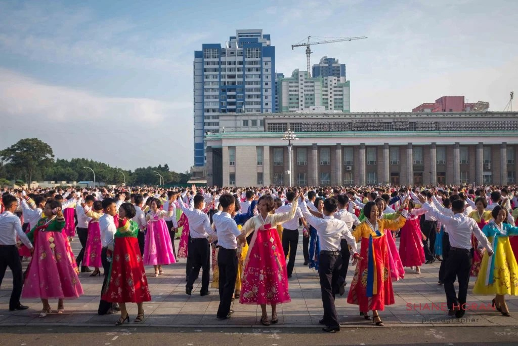 North Korean students performing in the thousands in Pyongyang, North Korea