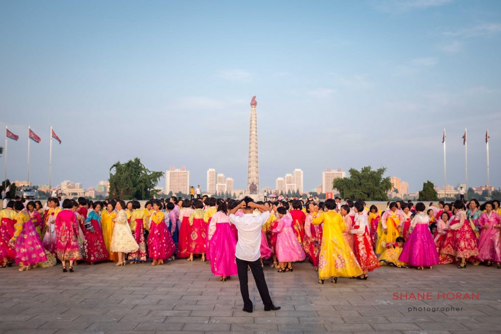 Korean women assembling in Kim Il sung square, Pyongyang, North Korea