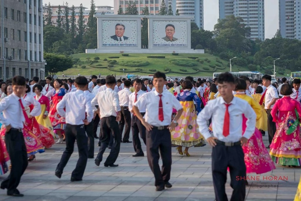Dancing in central Pyongyang, North Korea