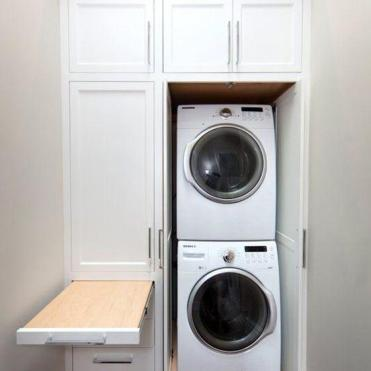 Apartment Stacked Washer and Dryer with Pullout Folding Drawer