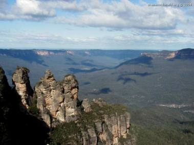 The Three Sisters, New South Wales, Australia Three Rocky Pillars which, according to the aboriginal legend were 3 sisters, Meenhi, Wimlah and Gunnedoo, turned to stone for their own safety by their Witch Doctor father, Tyawan.