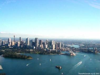 Sydney Harbour from the Air, Sydney, Australia From the air again, this is a view of Farm Cove and the Sydney skyline.