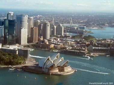 Sydney Opera House from the Air, Sydney, Australia Close up of the Opera House from the air.