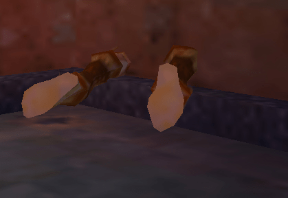 Everquest screenshot with feet sticking out of a wall