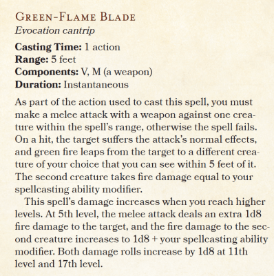 D&D Sword Coast Adventurers Guide nothern green flame blade cantrip