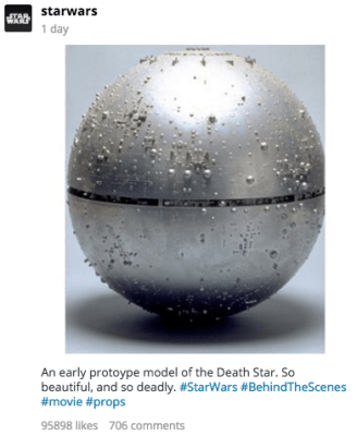 Star Wars instagram Death Star prototype model