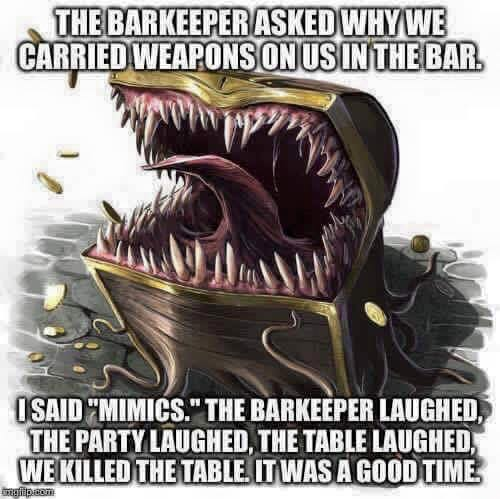 D&D mimic joke meme