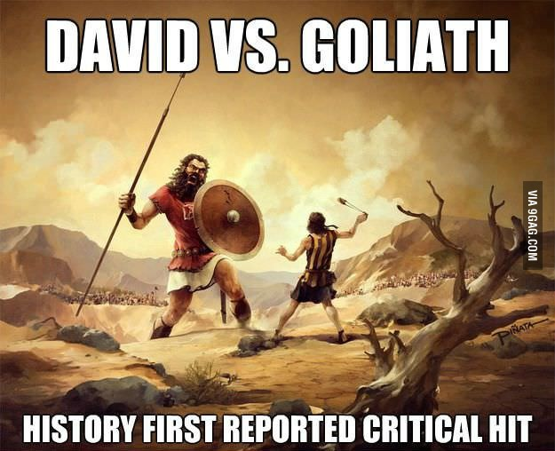 David vs Goliath critical hit meme
