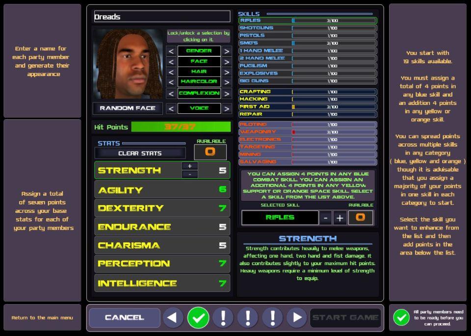 Stellar Tactics character creation Dreads