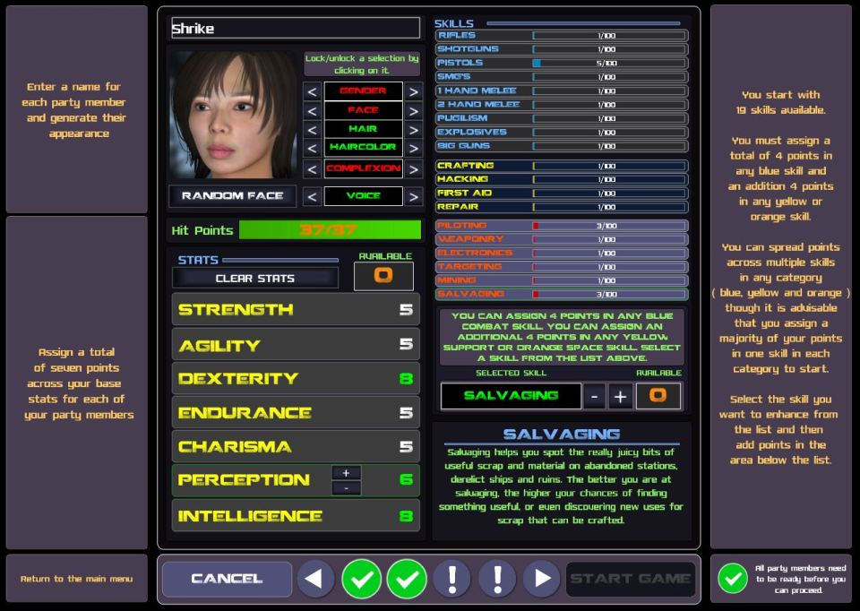 Stellar Tactics character creation Shrike