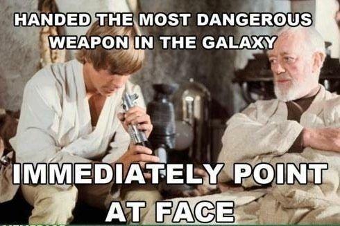 geek meme point lightsaber at face