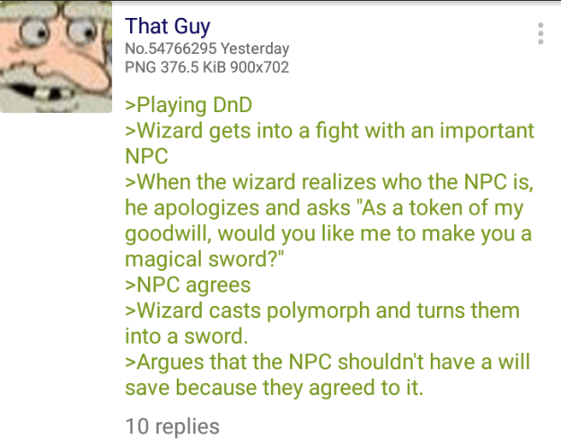 d&d meme polymorph into a magic sword