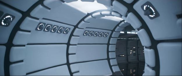 star wars solo trailer millennium falcon corridor clean and white