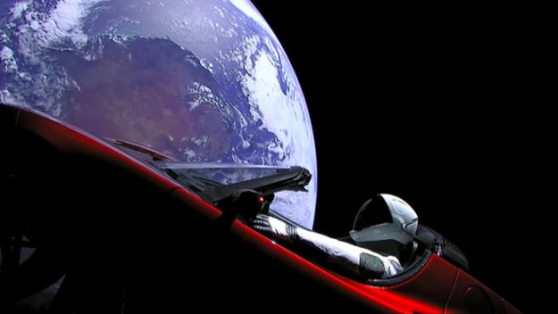tesla car in space falcon heavy space x
