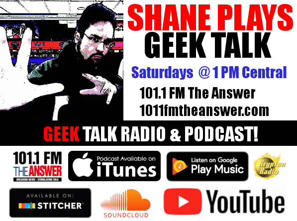 Shane Plays Geek Talk radio show and podcast image with logos
