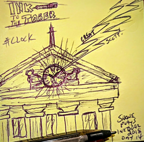 shane plays inktober 2018 ink drawing day 14 clock