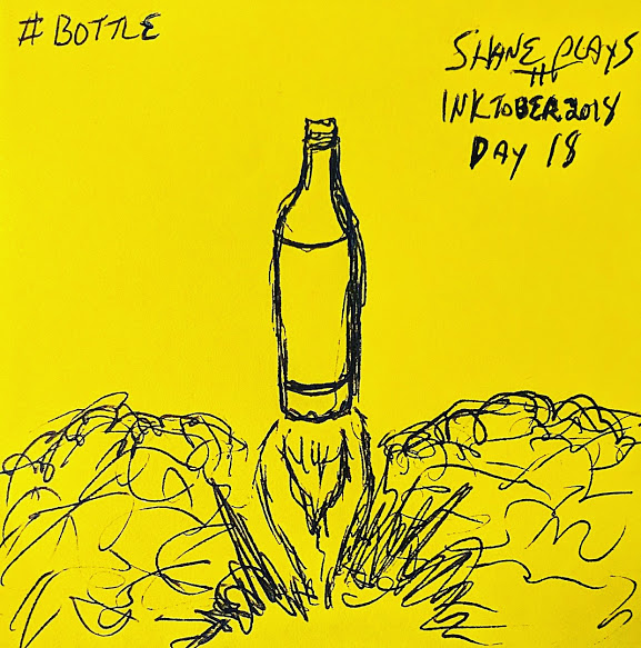 shane plays inktober 2018 ink drawing day 18 bottle