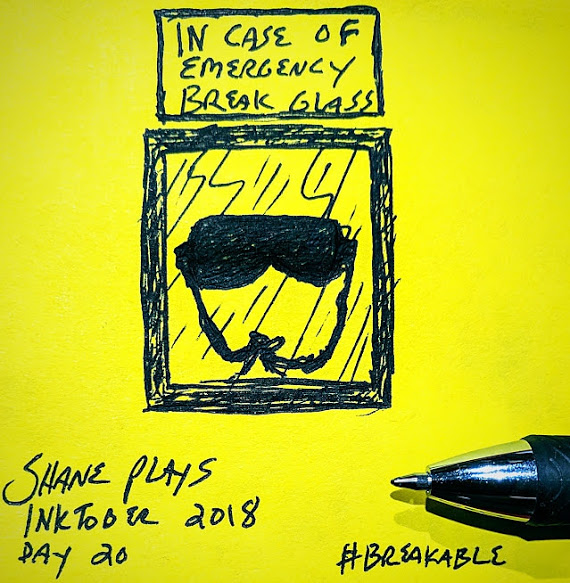 shane plays inktober 2018 ink drawing day 20 breakable