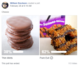 william brackeen girl scout cookie facebook poll results