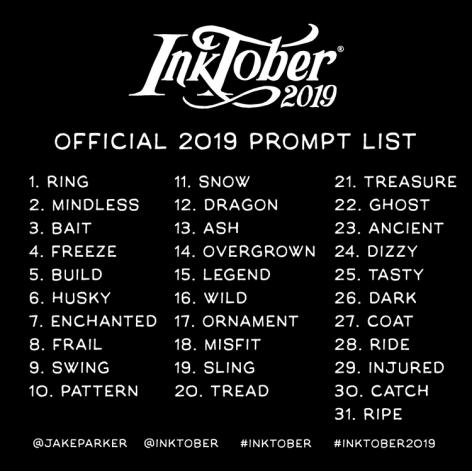 inktober 2019 prompt list