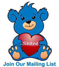 """Join Our Mailing List - blue teddy bear holding a red heart embellished with """"Shane"""""""